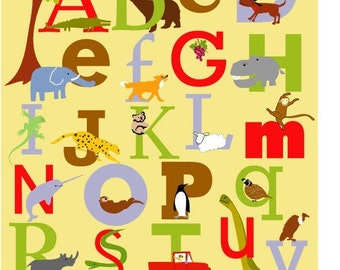 Alphabet Print poster 10 x 16 inches nursery wall decor
