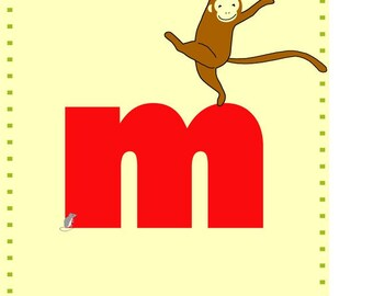 letter M nursery card print 5x 7