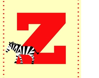 Z for zebra - Alphabet art - Alphabet print - ABC wall art - Abc print - Nursery art - Nursery decor - Kids room decor - Children's art