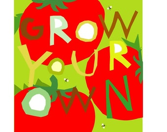 garden tomato poster grow your own in a mat