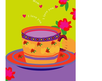 greeting card I love you teacup with bright flowers