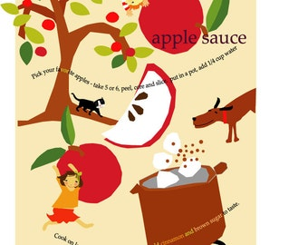 recipe print with mat illustration kids wall art