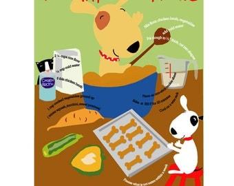 Dog treat recipe print 8 x 10 in a mat