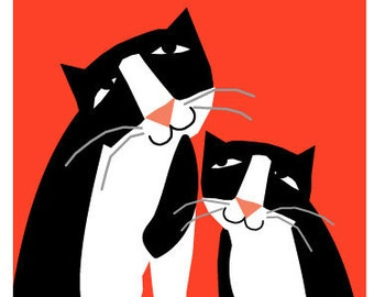 greeting card collection  tuxedo cats with mistletoe