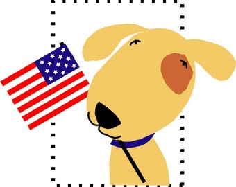 note cards patriotic pup with American flag card collection
