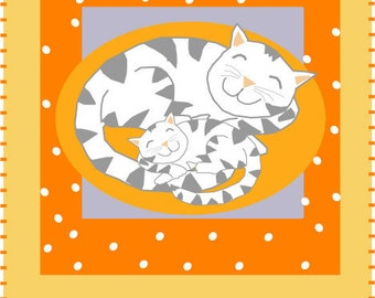 cat and kitten greeting card original illustration