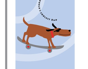fathers day card worlds coolest dad skateboarding dog