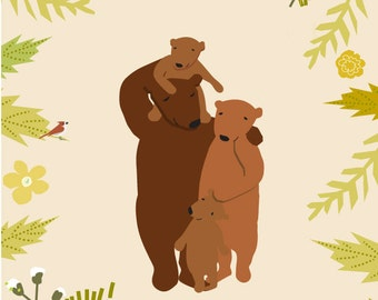 custom portrait family of bears original illustration 11 x 14 inch mat