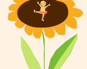 new baby card sunflower with tiny dancing baby collection
