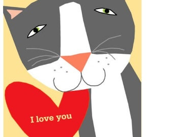 Valentine card gray kitty i love you card collection