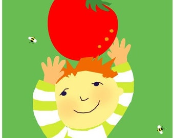 kids garden greeting card tomato
