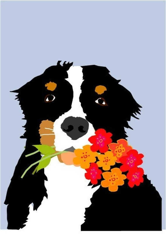 Bernese mountain dog greeting card 5 x 7 inch greeting card with envelope