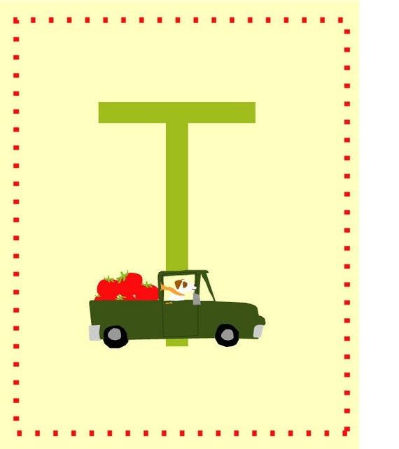 letter t nursery alphabet card