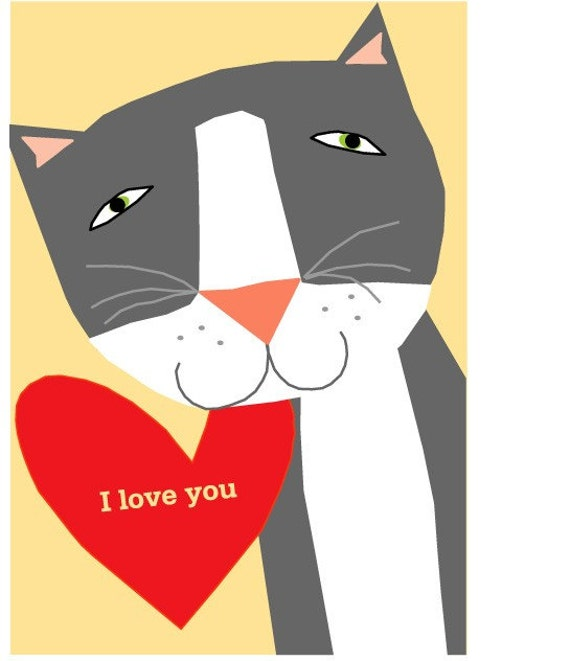 Valentines Card collection gray cat  I Love you