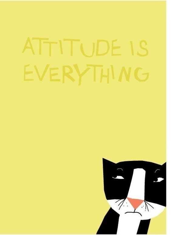 cat card attitude is everything tuxedo black and white kitty