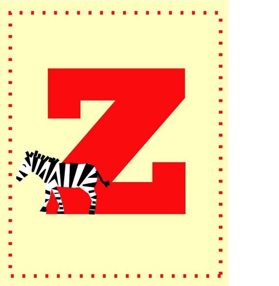 Z for zebra - Alphabet art - Alphabet print - ABC wall art - Abc print - Nursery art - Nursery decor - Kids room decor - Children's art