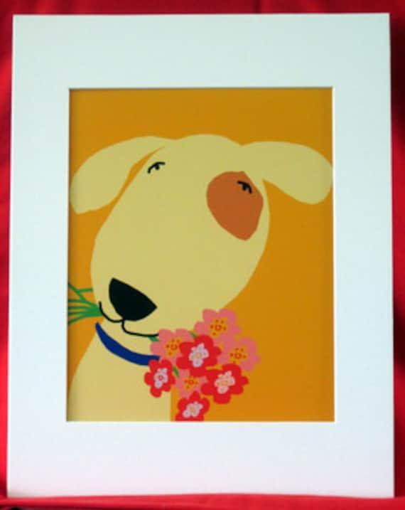 dog art print with flowers nursery decor child art