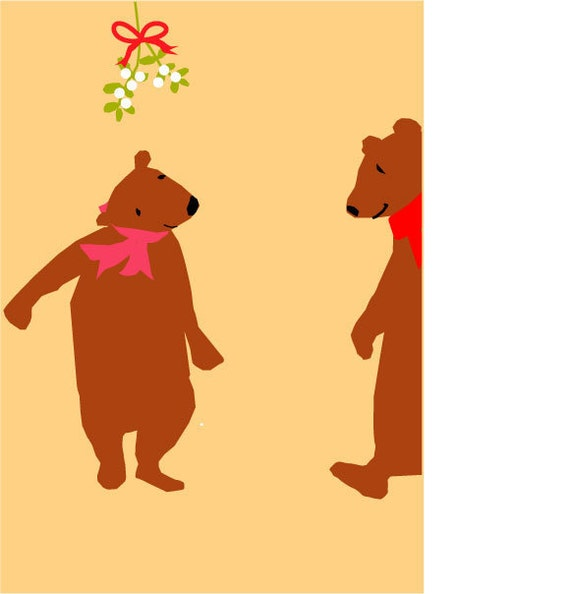 christmas cards brown bears under mistletoe card collection