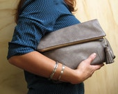 Grey Leather Fold Over Clutch