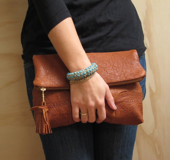 Dark Tan Fold Over Leather Clutch