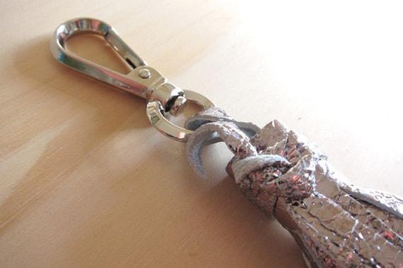 Silver Leather Tassel w/ Clip