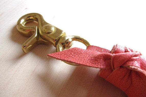 Coral Leather Tassel w/ Clip