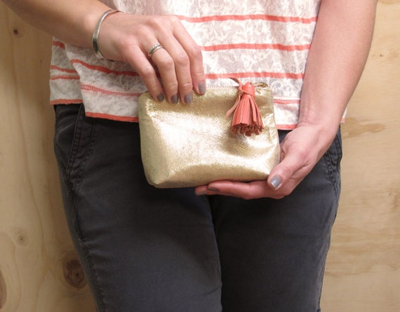 Gold Leather Clutch w/ Leather Tassel