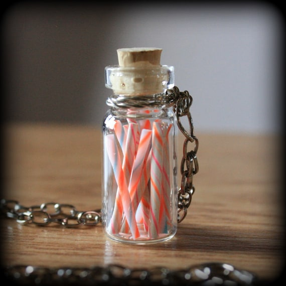 Old Fashioned Candy Sticks - glass bottle necklace - SALE
