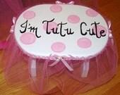 I'm Tutu Cute Stool - Pink Bubble/Dots Room Decor