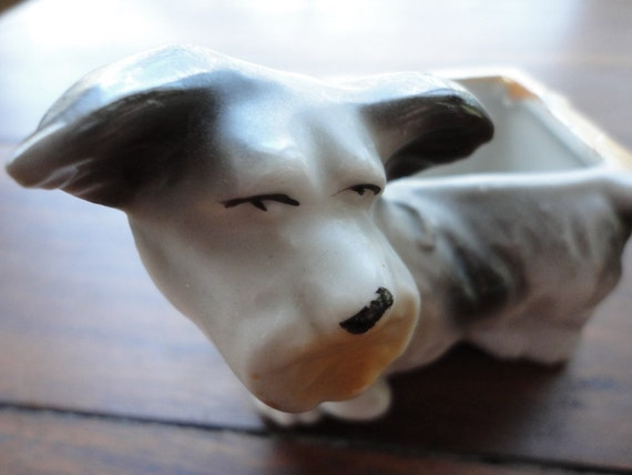 Vintage small schnauzer dog planter- great for your sugar