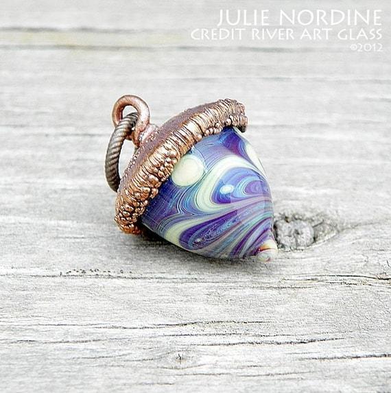 Miniature Acorn 60 . Handmade Lampwork Glass and Electroformed Copper Acorn . Julie Nordine . CRAG . Free Shipping . SRA
