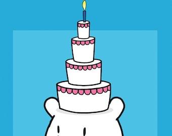 Happy Birthday Cake on Head Card
