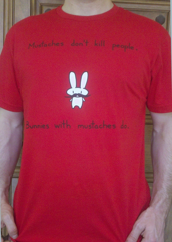 Mustache Bunny Tshirt (available in mens and womens)