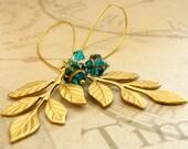 Gilded Branches - zircon blue brass leaf earrings