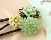SALE 15% OFF  Spring Green Trio, flower cabochon brass bobby hair pins