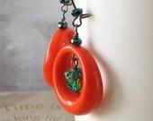 Life is a Carnival - vintage orange hoop green glass earrings