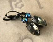 Black Diamond Earrings, Vintage Rhinestone Jewelry, Marquise Emerald Jewels, Antiqued Brass Leverback Cocktail Earrings