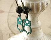 Cute Owl Earrings, Teal Blue Verdigris Jewelry, Antiqued Brass, Woodland, Rustic Hoots