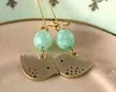 Mint Green Earrings, Bird Earrings, Lovebird Jewelry, Gold Bird Charm Hoops, Seafoam Lovebirds
