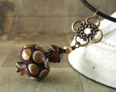 Glass Lampwork Pendant, Plum Crystal with Copper, Leather Cord Necklace, Handmade Lampwork Necklace, Caramel Polka Dots