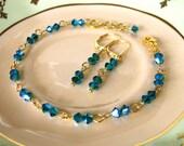 Earrings Bracelet Set, Blue Swarovski Crystal with Gold, Drop Earrings, Teal Blue and Emerald, Bridal Jewelry Set