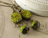 Lime Green Earrings, Starburst Glass, Rustic Drop Earrings, Antiqued Brass Hoops