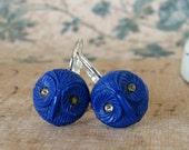 Retro Blue Owl Earrings, Cobalt Blue Vintage Earrings, Woodland Creature, Silver Leverback, Art Deco Hoot Earrings
