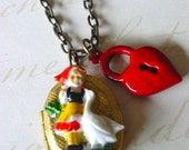 CLEARANCE SALE - Little Maid Locket Necklace (red)
