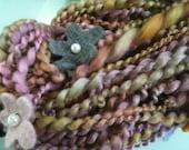 Art Yarn Hand Dyed Felted Flower Yarn