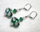 Green Pink Earrings Lampwork Swirls Swarovski Crystals in Silver Leverback Hooks