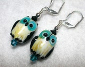 Owl Earrings Black and Blue Owls HOOT
