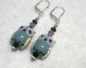 Owl Earrings Lampwork Glass Black  Purple and Gray Owls HOOT Leverback Hooks Swarovski Crystal Wire Wrapped Raptor Earrings