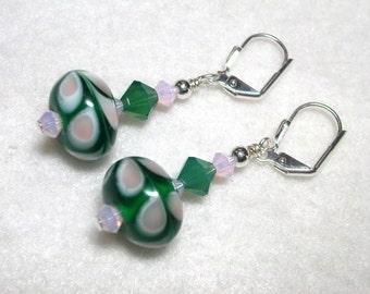 Green Pink Earrings Lampwork Swirls Swarovski Crystals in Silver Leverback Hooks