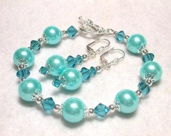 Turquoise Blue Pearl Bracelet Turquoise Earrings Swarovski Crystal Bracelet and Earring Set Leverback Hooks Toggle Clasp Gifts under 10